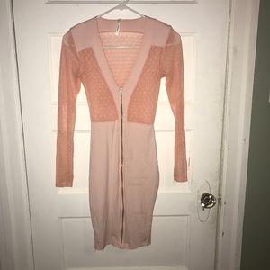 Goodtime USA Pink Sheer Polka Dot Zip Dress 3/$20